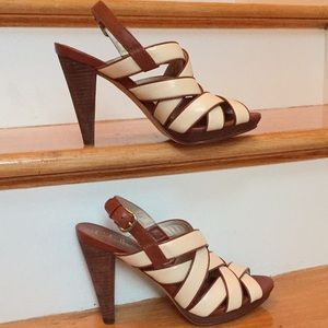 "Cole Haan ivory/Brown 4.5""heel/3/4""platform sandal"